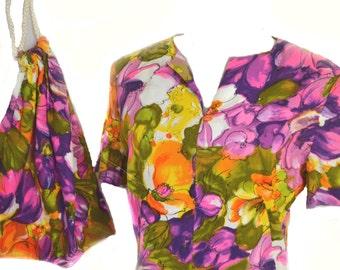 60s Maxi Dress n Matching Purse 30 Inch Waist
