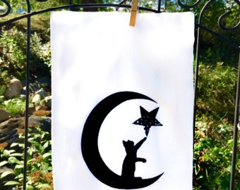 Black Cat, Cat Lovers, Tea Towel, Black Cats, Cotton Flour Sack, absorbent, ultra soft