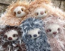 Sloth stuffed animal,  Sloth plush toy, sloth toy, amigurumi sloth, stuffed sloth doll, hand knit and felted sloth, ready to ship!