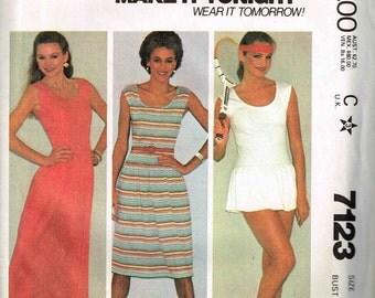 Tennis Golf Dress Panties Scoop Round Neckline Maxi Long Length Drop Waist McCalls 7123 Sewing Pattern Size 10 Bust 32.5