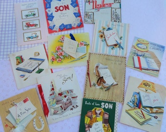 Mid Century Graphics for the Male of the Species Happy Birthday Son Nephew Vintage Birthday Lot No 120 Flannel shirt Sports Desk Sets