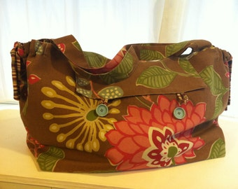 Reversible Weekender Gym Dog Bag Floral and Striped Canvas by Barneche/Stephanie Barnes