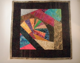 Small Art Quilt Modern Improvised Piecing Rainbow Bridge Handmade Quiltsy