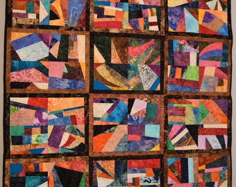 Crazy Modern Abstract Art Quilt Lap or Wall Quiltsy Handmade Windows