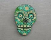 GRAVESTONE SKULL MAGNET Handpainted Fridge Magnet Folk Art
