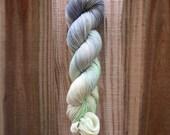 Beach Weather - Walker - merino nylon sock yarn fingering gray grey green spearmint light speckle black mustard