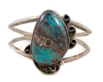 Turquoise Bracelet, Sterling Silver, Cuff Bracelet, Unique Stone, Vintage Bracelet, Green Blue, Heavy Wide, Big Statement, Boho Bohemian