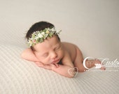 Floral Ivory Crown Headband Baby Photo Props, Ivy & Eden, Baby Girl, Natural Earth Props, Rustic, Fairy Vintage, Handmade, Halo, Greenery