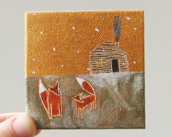 winter at the cabin / small painting on canvas