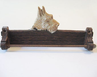 Vintage Syroco Wood Scottie Dog Tie Belt Leash or Towel Bar Wall Mount