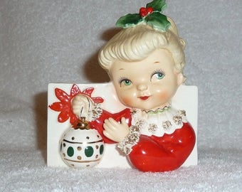 Vintage 1950s NAPCO Christmas GIRL Ornament Headvase Planter Head Vase 1950s