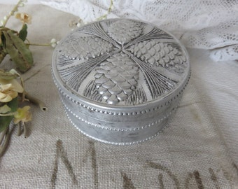 Sweet Vintage French Boudoir Tin, Repousse Fir Cone Decoration, Old Aluminium Tin, French Country Home Decor