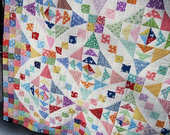 Double Full Patchwork Quilt Reproduction thirties Blanket traditional quilt