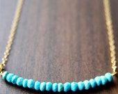 CIJ SALE Turquoise Rondelle Gold Necklace