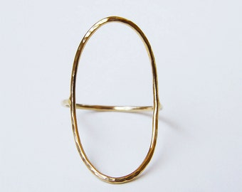 Saturn Open Oval Gold Ring