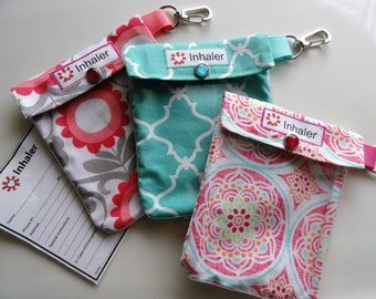 Inhaler or Auvi Q Pouch Clear Front W/ Clip Holds 1-2 Asthma Puffer or Square Epi Medication - 4x5 - 4x5 Your Choice Girl Fabric