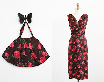 vintage 1960s dress / 1950s dress / Mad Men Roses Dress and Matching Purse