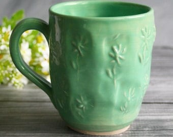 Extra Large 20 oz. Coffee Mug in Creamy Aqua Glaze and Daisy Motif Design Made in USA Ready to Ship