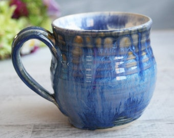 Handcrafted Pottery Mug with Dripping Blue Glaze Wheel Thrown Coffee Cup Ready to Ship Made in USA