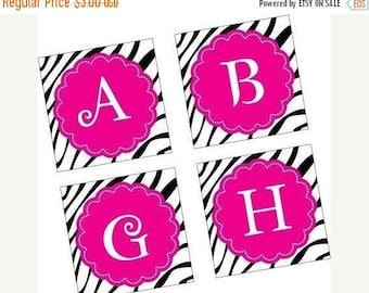 Weekly Sales Item - Zesty Zebra  Alphabet - Scrabble size pendant images - SCRABBLE SIZE - digital sheet - Buy 2 get 1 FREE - Auto Download