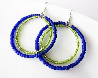 Double Hoop Earrings in Blue and Green | Hippie Boho Style Jewellery for Women | Large Beaded Dangle Earrings | Seed Bead Earrings