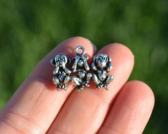 BULK 20  Silver Three Wise Monkeys Charms SC3704