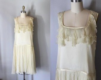 The PARIS WIFE 1920s style Silk flapper dress size 14 / Free Shipping