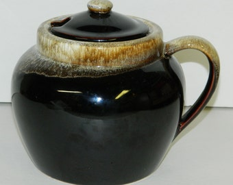 Vintage Pfaltzgraff Brown Drip Bean Pot w/ Lid One Handle Mid Century CrabbyCats, Crabby Cats