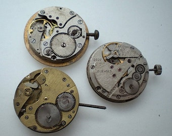 3 vintage steampunk partial watch movements (L12)