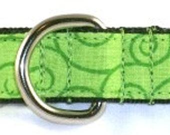 3/4 inch green greyhound martingale dog collar, lime green, curves, spirals, vines, curls, twists--Swirls-Lime