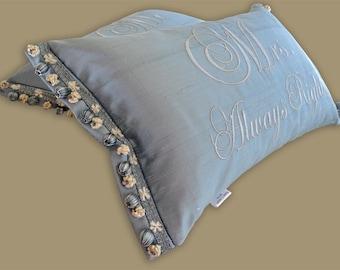 embroidery silk pillow sham pair metallic silver trim flange medium blue gray down feathers