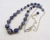 Sodalite Sterling Silver Necklace - Beaded Necklace - Genuine Gemstone - Gift