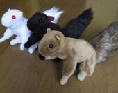 Squirrel Plush Doll - Brown, Black or Albino