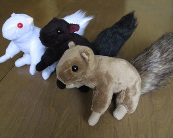 Squirrel Plush Doll - Brown, Black or Albino