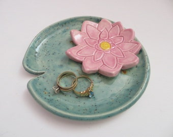 ring holder, wedding ring dish, lotus flower lily pad plate, jewelry tray, IN STOCK