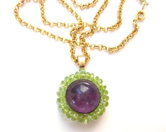 Amethyst & Peridot Pendant on Gold Filled Rolo Chain - Natural Gemstones Handmade Jewelry