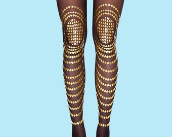 Christmas sale, Christmas gift black tights Goldfish model gold print sheer tights available in S-M L-XL