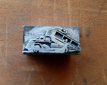 Antique Copper on wood Printers Block - Art Deco style Old Fashion industrial work truck