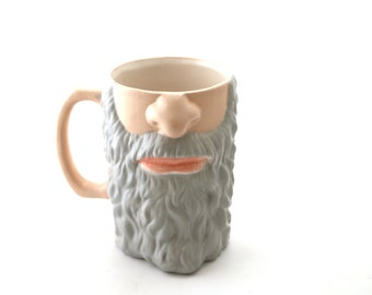 Beard mug - funny men's gift - gift for him - GREY -  mustache and beard mug - beer stein - extra large mug- mens gift