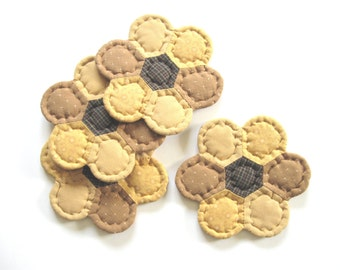 Fabric Coasters - Rustic Home Decor Quilted Coasters - Country Home Decor Drink Coasters - Mug Mats Primitive Country Decor Farmhouse Decor