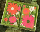 Retro 60s Flower Power Double Deck Playing Cards Bridge