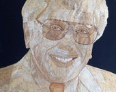 Marvin Zindler Eye witness news Houston TV personality portrait in rice straw Have U seen ancient leaf art?