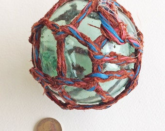 VINTAGE FISHING FLOAT beach decor, unique rust red/blue netting, aqua-green glass, collectible, Japanese glass float, coastal, nautical