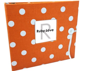 BABY BOOK | MOD Orange Polka Dot Album - Ruby Love Modern Baby Memory Book
