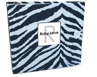 BABY BOOK | Black and White Zebra Baby Book | Ruby Love Modern Baby Memory Book