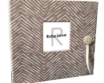 BABY BOOK | Gray Freeform Arrows Baby Book | Baby Memory Book