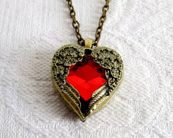 Winged Crystal Heart Pendant Necklace