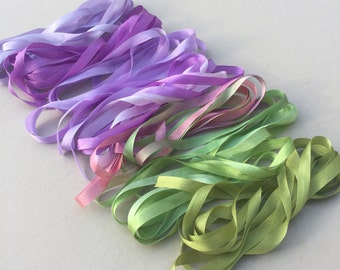 Violet Mix - 14 metres of 7mm silk ribbon