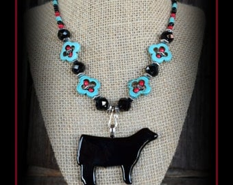 Black Show Steer Glass Pendant With Beaded Necklace
