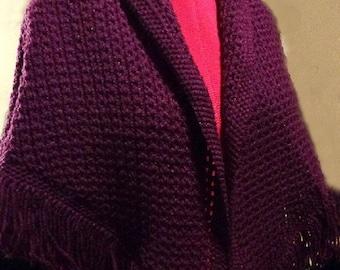 """Purple Shawl with 4"""" fringe"""